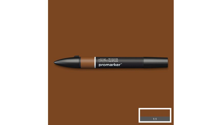 Winsor & Newton ProMarker - Twin Tip; Broad+Chisel - Alcohol Based - Burnt Sienna