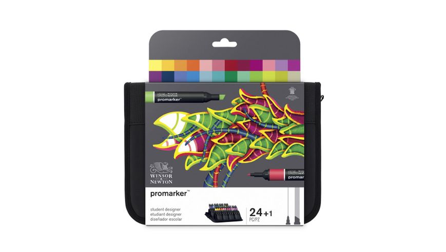 Winsor & Newton ProMarker - Twin Tip - Alcohol Based - Student Designer Wallet - Set of 24
