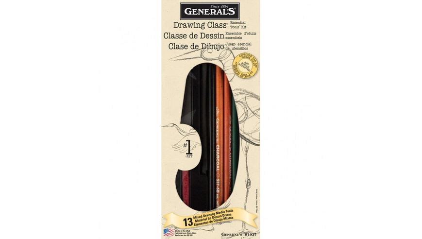General's Drawing Class Essential Tools Kit - Art Set of 13 Pieces