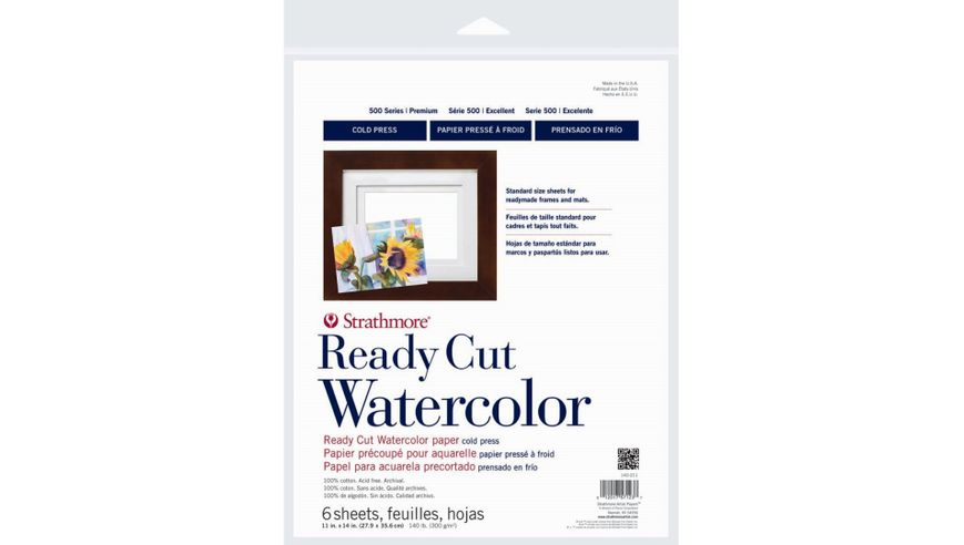 Strathmore 500 Series Watercolor 11''x14'' Natural White Medium Grain 300 GSM Paper Polypack of 6 Sheets
