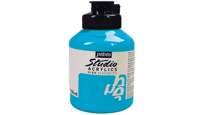 Pebeo Studio Acrylic High Viscosity 500 ml Turquoise Blue 30