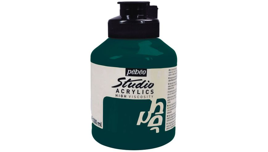 Pebeo Studio Acrylic High Viscosity 500 ml Phthalocyanine Emerald 42