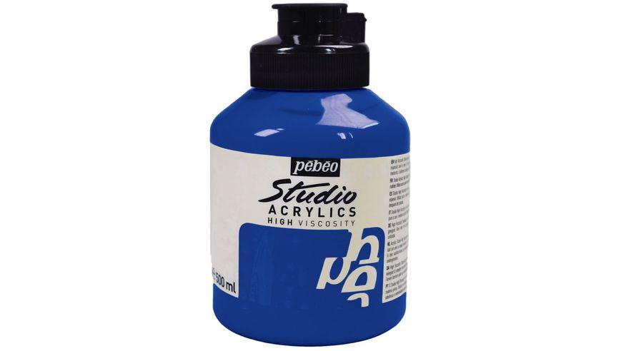 Pebeo Studio Acrylic High Viscosity 500 ml Primary Cyan 49