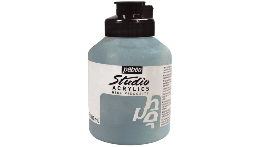 Pebeo Studio Acrylic High Viscosity 500 ml Iridescent Silver 351