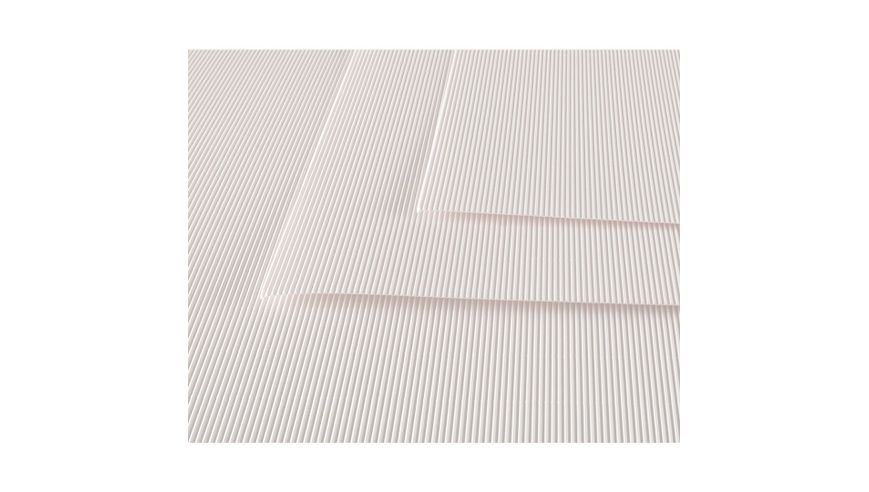 Canson Corrugated Cardboard Paper Pack of 10 - 300 GSM, 50 x 70 cm  - White