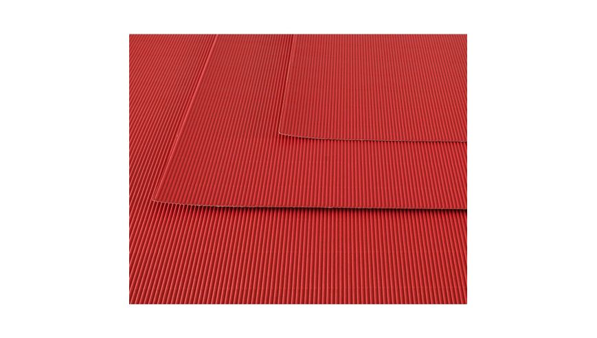 Canson Corrugated Cardboard Paper Pack of 10 - 300 GSM, 50 x 70 cm  - Bright Red