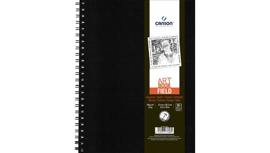Canson Field Art Book - A4 + (23 x 30.5 cm) - 90 Sheets (180 Pages) - 110GSM