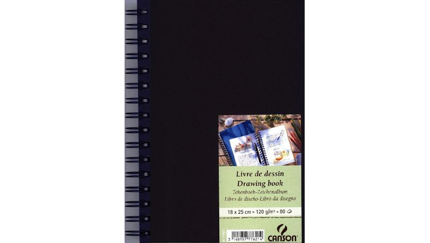Canson Drawing Book 120 GSM 18 x 25 cm 80 Fine Grain Sheets - China Blue Cover
