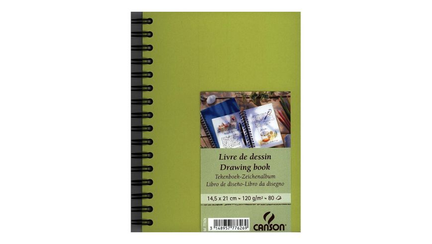 Canson Drawing Book 120 GSM A5 80 Fine Grain Sheets - Lime Green Cover