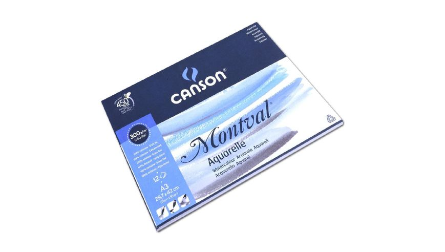 Canson Montval 300 GSM A3 Pad of 12 Fine Grain Sheets