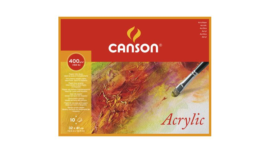 Canson Acrylic 400 GSM 32 x 41 cm 4 Side Glued Pad of 10 Fine Grain Sheets