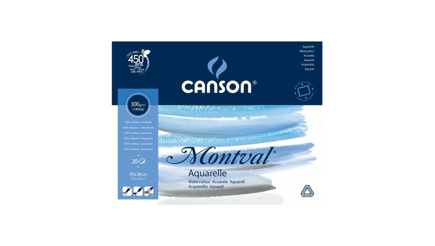 Canson Montval 300 GSM 19 x 24 cm 4 Side Glued Pad of 20 Fine Grain Sheets