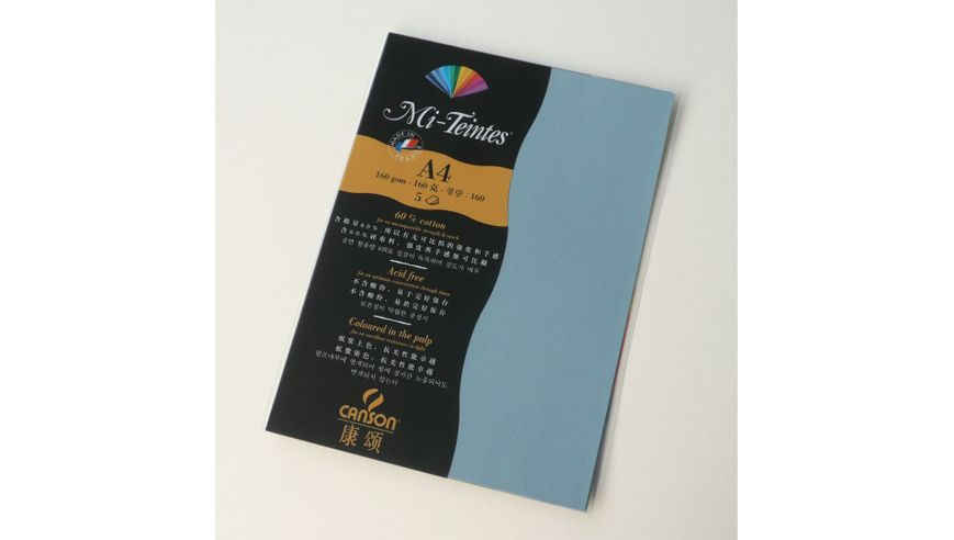 Canson Mi-Teintes 160 GSM A4 Pack of 5 Honeycomb & Fine Grain Sheets - Light Blue