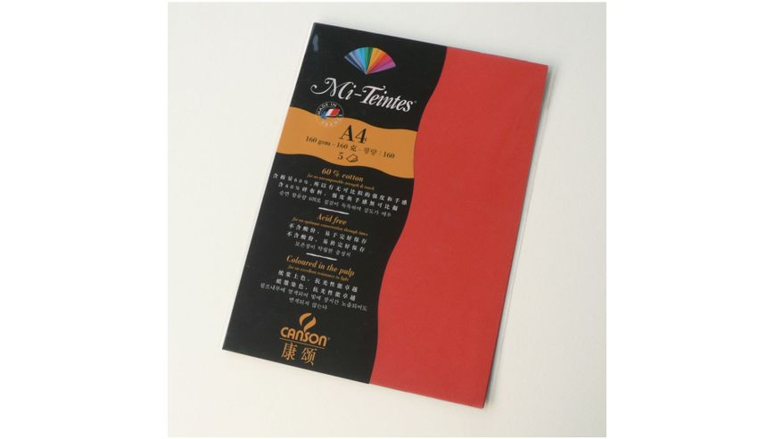Canson Mi-Teintes 160 GSM A4 Pack of 5 Honeycomb & Fine Grain Sheets - Poppy Red