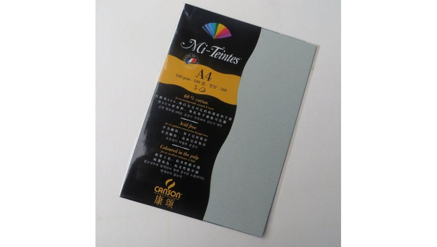 Canson Mi-Teintes 160 GSM A4 Pack of 5 Honeycomb & Fine Grain Sheets - Sky Grey