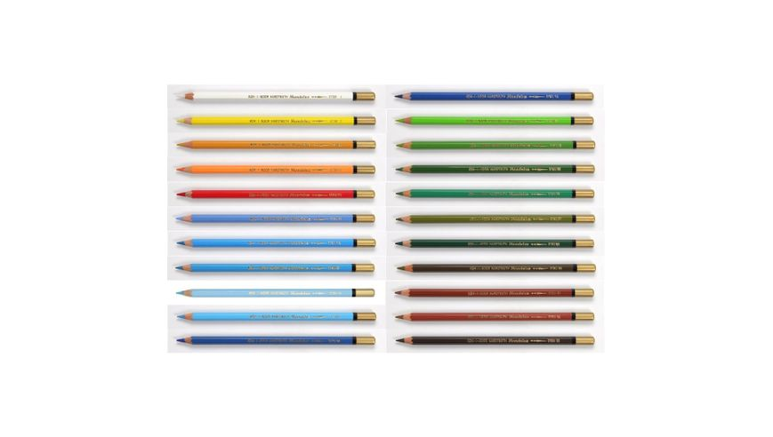 Koh-I-Noor Mondeluz Artist's Water Soluble Coloured Pencils - Set of 22 Landscape Colours