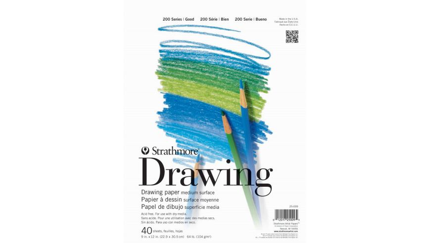 Strathmore 200 Series Drawing 9''x12'' White Fine Tooth 104 GSM Paper, Short-Side Tape Bound Pad of 40 Sheets