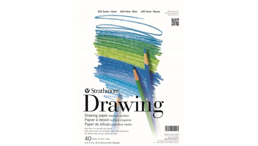 Strathmore 200 Series Drawing 11''x14'' White Fine Tooth 104 GSM Paper, Short-Side Tape Bound Pad of 40 Sheets