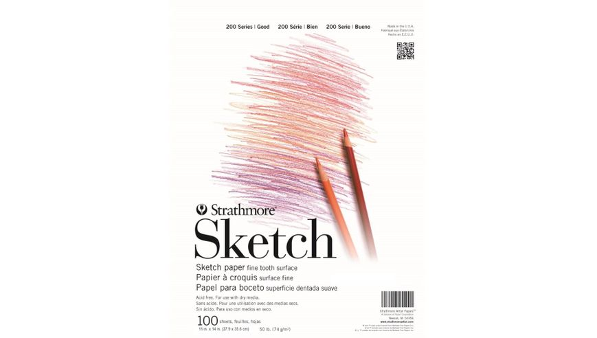 Strathmore 200 Series Sketch 11''x14'' White Fine Tooth 74 GSM Paper, Short-Side Tape Bound Pad of 100 Sheets