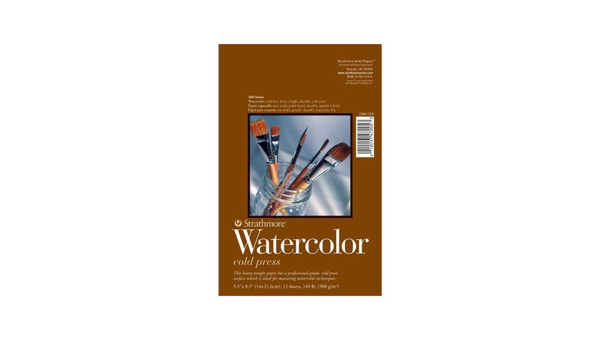 Strathmore 400 Series Watercolor 5.5''x8.5'' Natural White Medium Grain 300 GSM Paper, Long-Side Tape Bound Pad of 12 Sheets