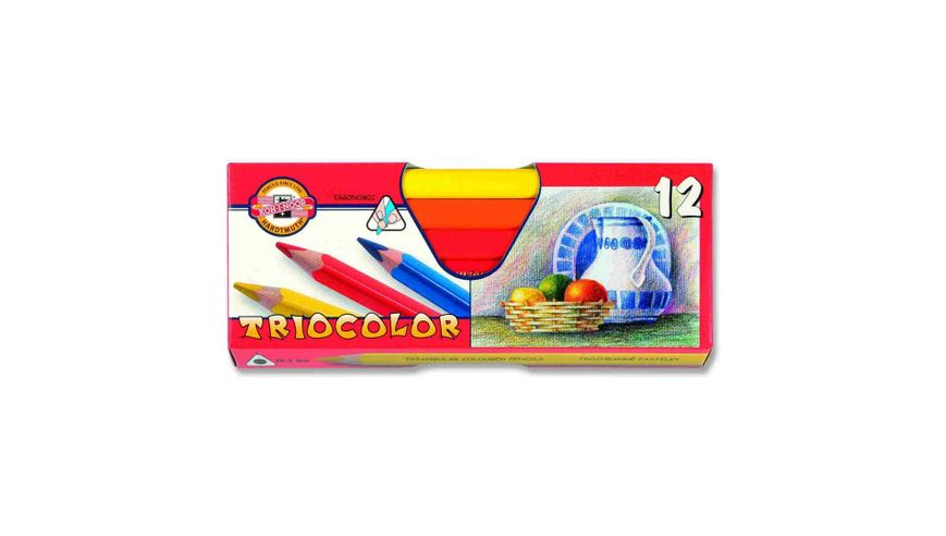 Koh-I-Noor Triocolor Artist's Quality Coloured Pencils - Set of 12 Assorted Colours
