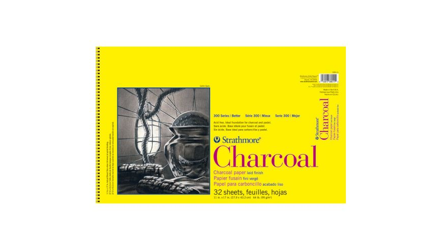 Strathmore 300 Series Charcoal 11''x17'' Natural White Laid 95 GSM Paper, Short-Side Spiral Bound Album of 32 Sheets
