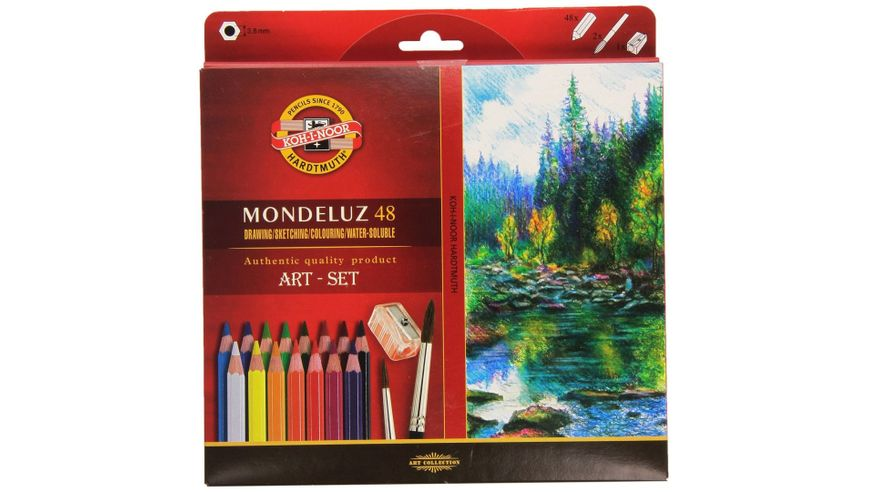 Koh-I-Noor Mondeluz Artist's Water Soluble Coloured Pencils - Assorted - Set of 48 in Card Box