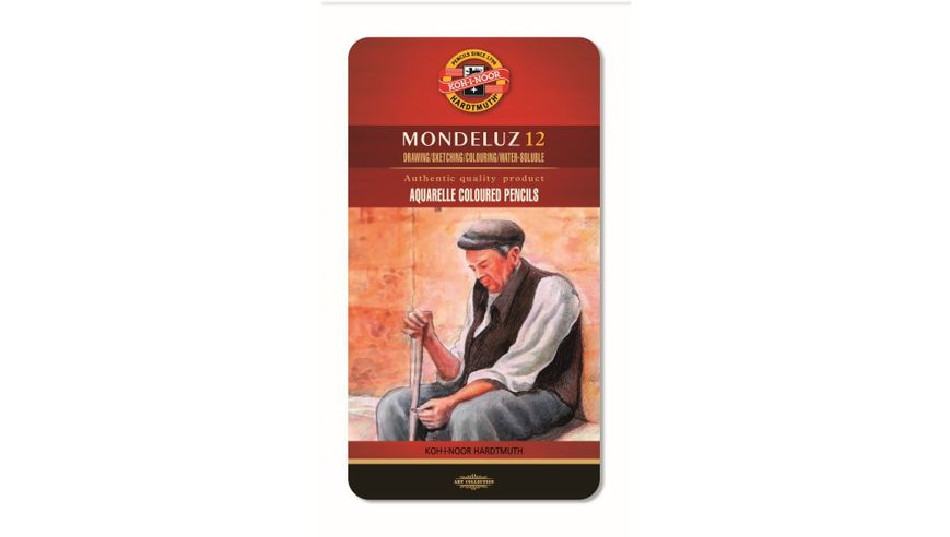 Koh-I-Noor Mondeluz Artist's Water Soluble Coloured Pencils - Assorted - Set of 12 in Tin Box