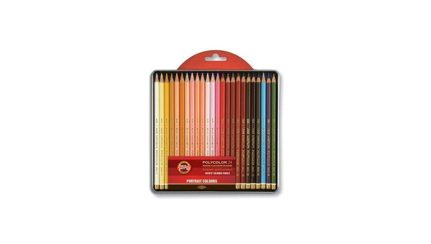 Koh-I-Noor Polycolor Artist's Coloured Pencils - Portrait - Set of 24 in Tin Box