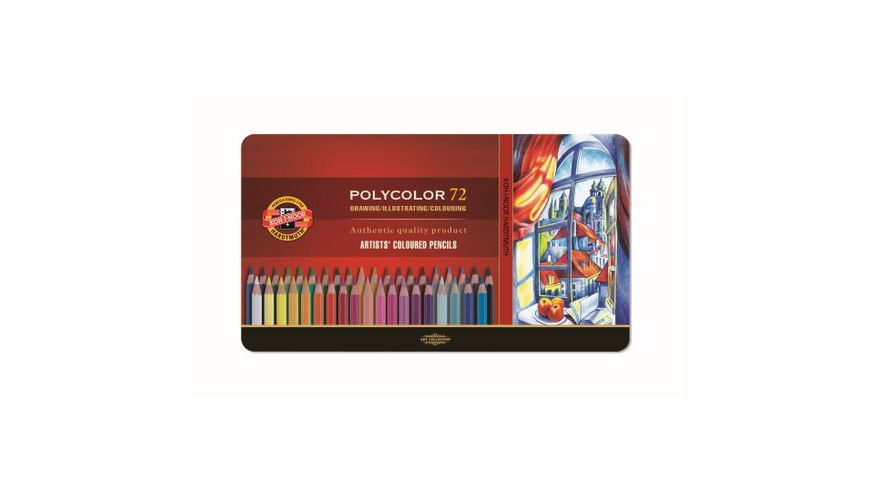 Koh-I-Noor Polycolor Artist's Coloured Pencils - Assorted - Set of 72 in Tin Box