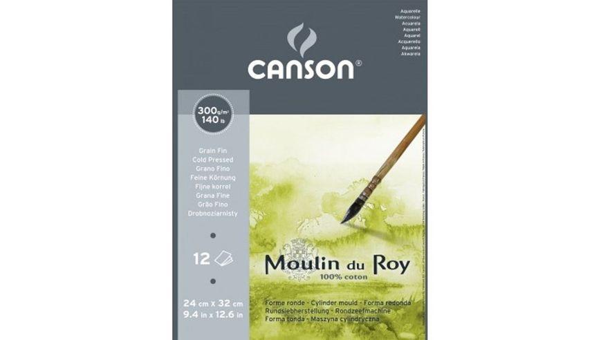 Canson Moulin du Roy 300 GSM 24 x 32.5 cm Pad of 12 Fine Grain Sheets