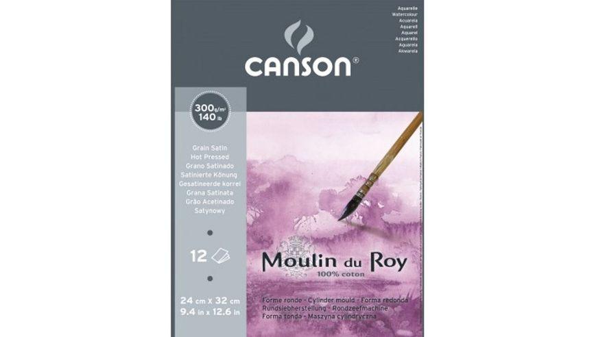 Canson Moulin du Roy 300 GSM 24 x 32.5 cm Pad of 12 Satin Grain Sheets
