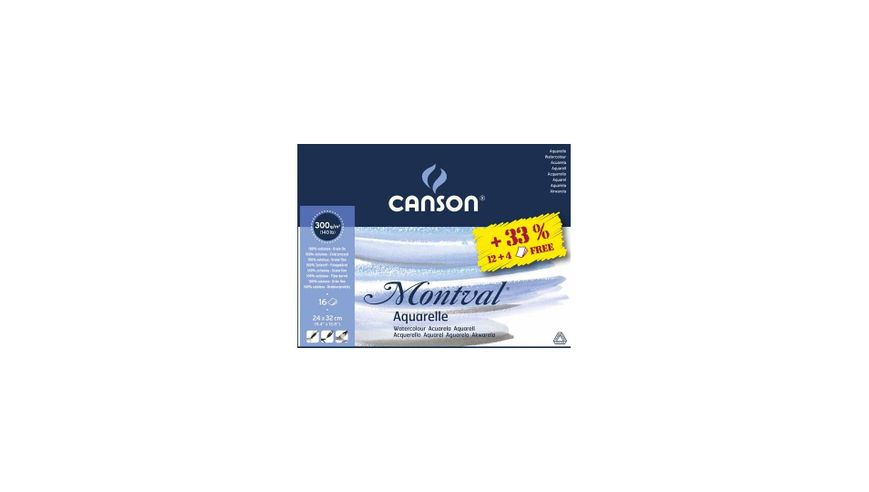 Canson Montval 300 GSM 24 x 32 cm Pad of 12 + 4 Free Fine Grain Sheets