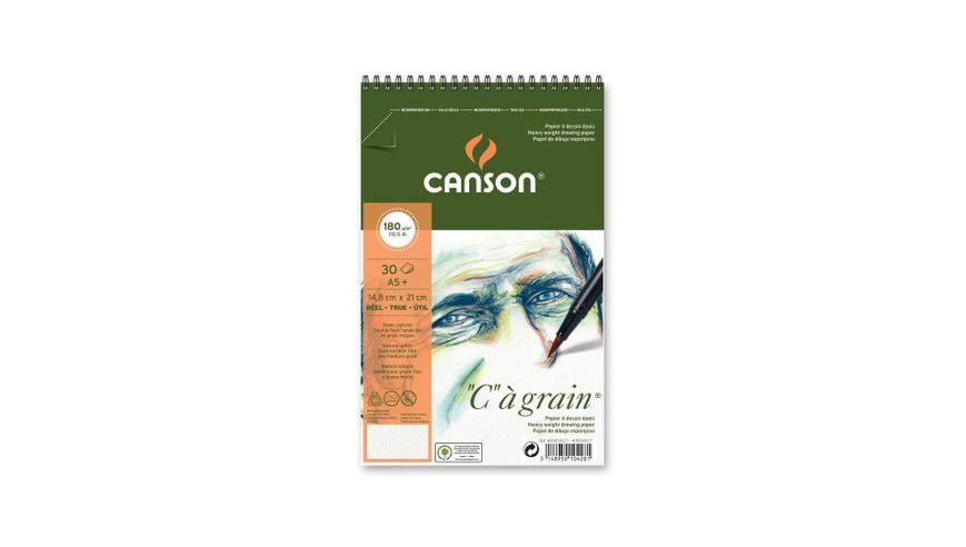Canson C a' grain 180 GSM A5+ Album of 30 Fine Grain Sheets