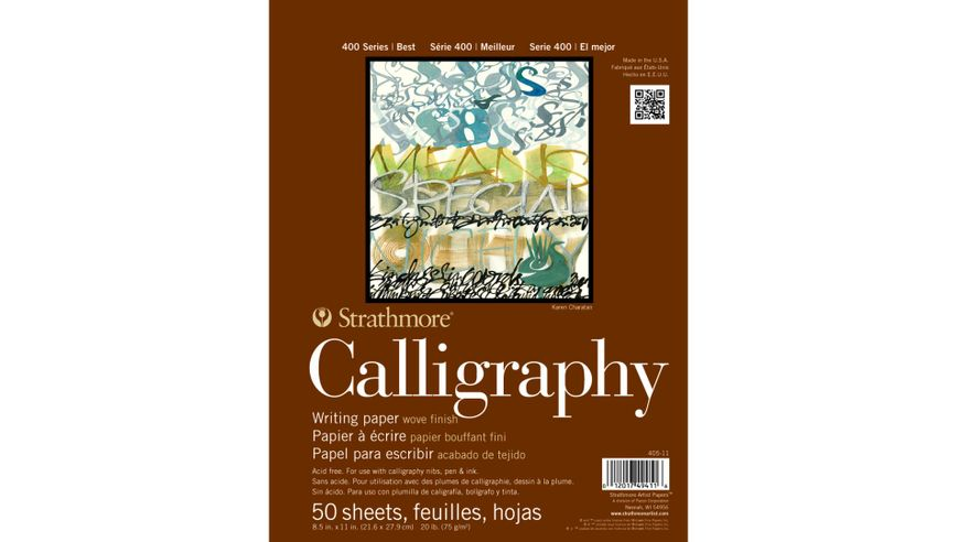 Strathmore 400 Series Calligraphy 8.5''x11'' Natural White Light Grain 75 GSM Paper, Short-Side Tape Bound Pad of 50 Sheets