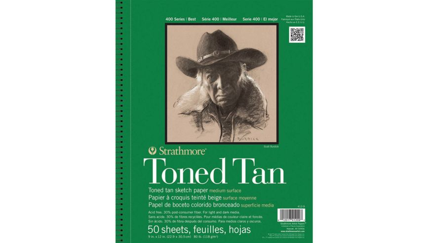 Strathmore 400 Series Toned Tan 9''x12'' Warm Tan Smooth 118 GSM Paper, Long-Side Micro-perforated Album of 50 Sheets