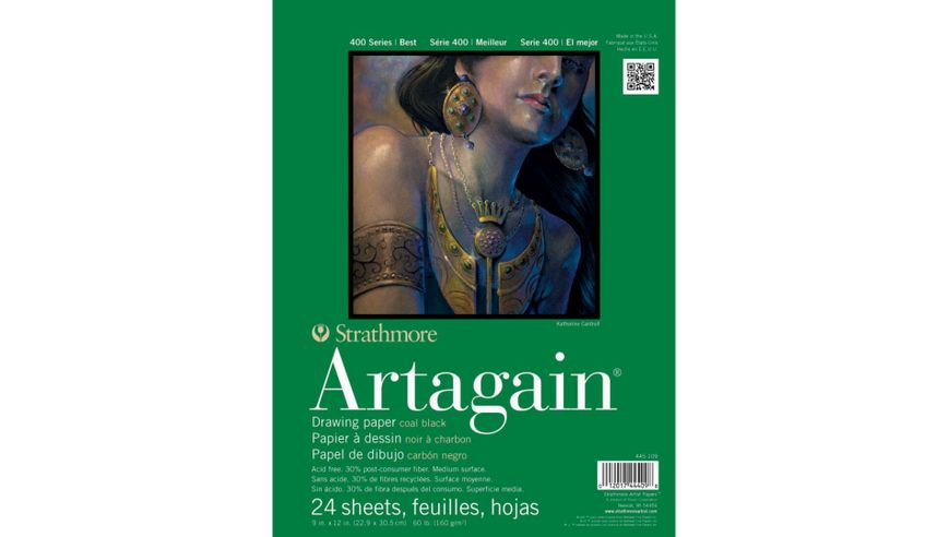 Strathmore 400 Series Artagain 9''x12'' Coal Black Light Grain 160 GSM Paper, Short-Side Glue Bound Pad of 24 Sheets