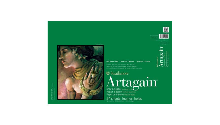 Strathmore 400 Series Artagain 12''x18'' 6 Assorted Tints Light Grain 160 GSM Paper, Short-Side Glue Bound Pad of 24 Sheets