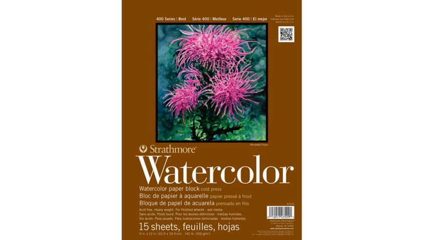 Strathmore 400 Series Watercolor 9''x12'' Natural White Medium Grain 300 GSM Paper, Four-Side Glued Block of 15 Sheets