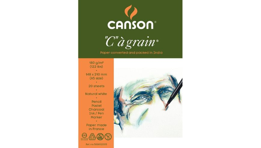 Canson C a' grain 180 GSM A5 Pack of 20 Fine Grain Sheets