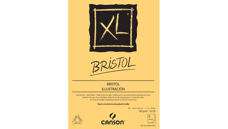 Canson XL Bristol 180 GSM A3 Pack of 5 Extra Smooth Sheets