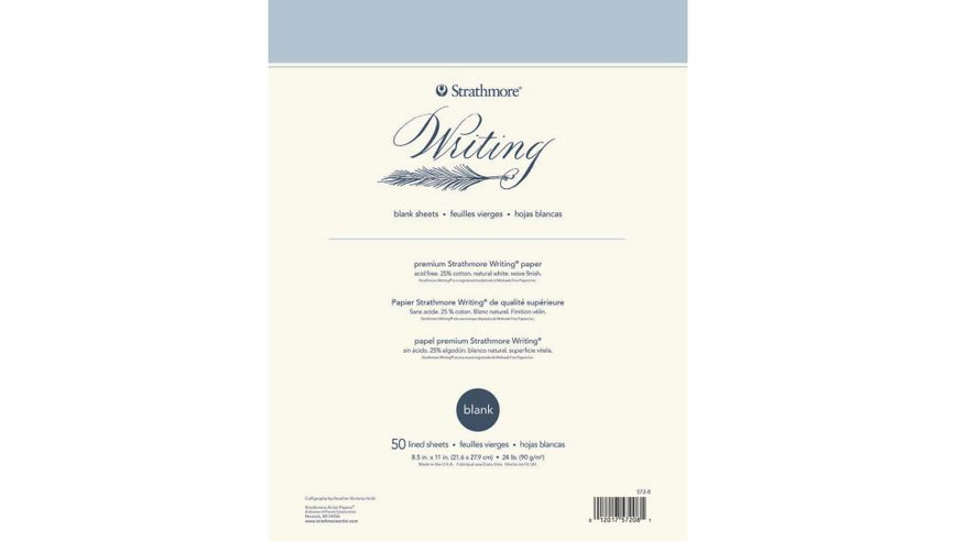 Strathmore 500 Series Writing 8.5''x11'' Natural White Woven 90 GSM Paper, Short-Side Glue Bound Pad of 50 Sheets