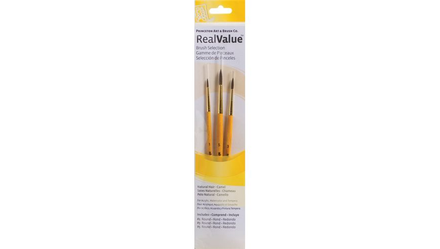 Princeton Real Value Brush Set of 3 - Natural Hair - Camel - Round 1, 3 & 5 - Short handle