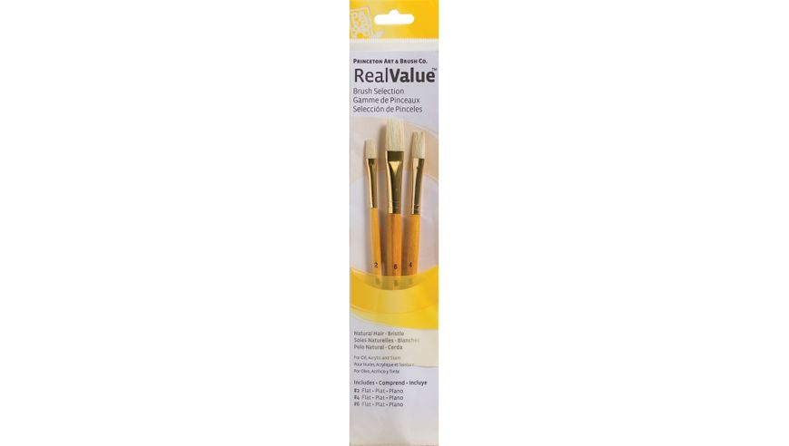 Princeton Real Value Brush Set of 3 - Natural Hair - Bristle - Flat 2, 4 & 6 - Short handle