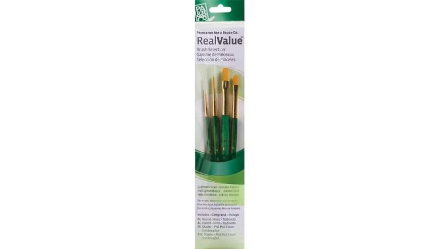 Princeton Real Value Brush Set of 4 - Synthetic Hair - Golden Taklon - Round 1 & 4, Shader 6 & 10 - Short handle