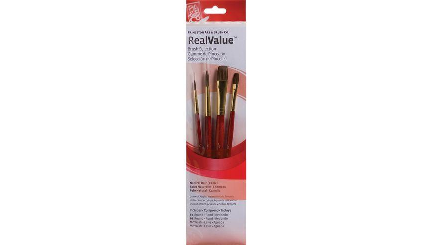Princeton Real Value Brush Set of 4 - Natural Hair - Camel - Round 2 & 6, Wash 1/4 & 1/2 - Short handle