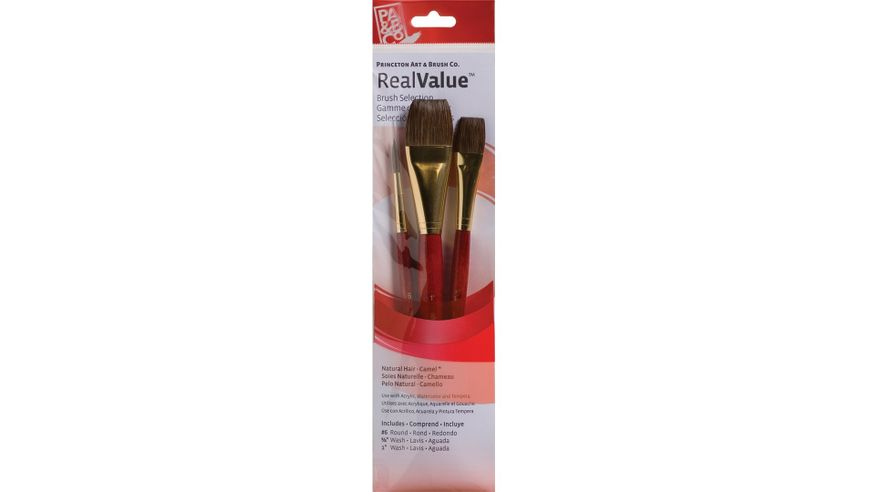 Princeton Real Value Brush Set of 3 - Natural Hair - Camel - Round 6, Wash 5/8 & 1 - Short handle