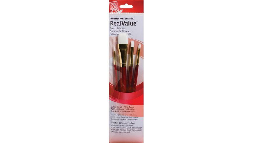 Princeton Real Value Brush Set of 4 - Sythetic - White Taklon - Round 2, Shader 4 & 8, Wash 3/4 - Short handle