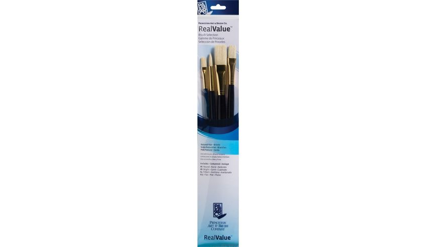 Princeton Real Value Brush Set of 4 - Natural Hair - Bristle - Round 6, Filbert 4, Bright 8, Flat 12 - Long Handle