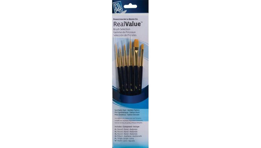 Princeton Real Value Brush Set of 6 - Synthetic Hair - Golden Taklon - Round 1, 3 & 5, Filbert 4, Script 1, Wash 3/8 - Short handle